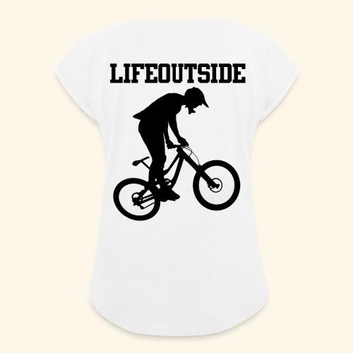 Mountainbike - Frauen T-Shirt mit gerollten Ärmeln