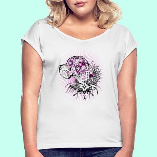 Doggen Portrait Tattoo Style - Frauen T-Shirt mit gerollten Ärmeln