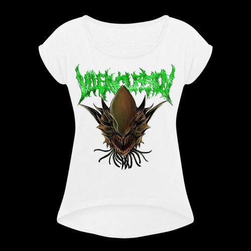 Alien head logo - T-shirt med upprullade ärmar dam