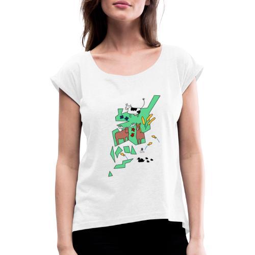 Åboland × Eva: Kimitoöns djurliv - Naisten T-paita, jossa rullatut hihat