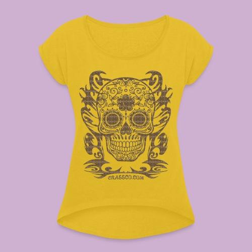 SKULL FLOWERS LEO - Frauen T-Shirt mit gerollten Ärmeln