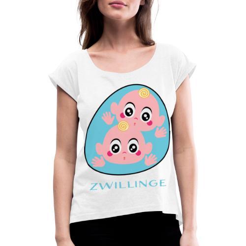 Tolles Geschenk für Zwillinge - Frauen T-Shirt mit gerollten Ärmeln