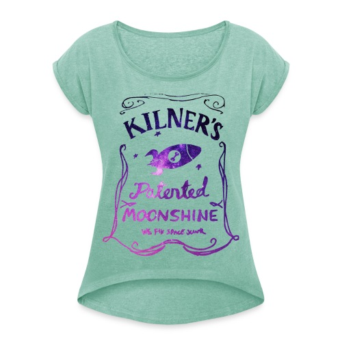 Kilner's Patented Moonshine (Stars Outline) - Women's T-Shirt with rolled up sleeves