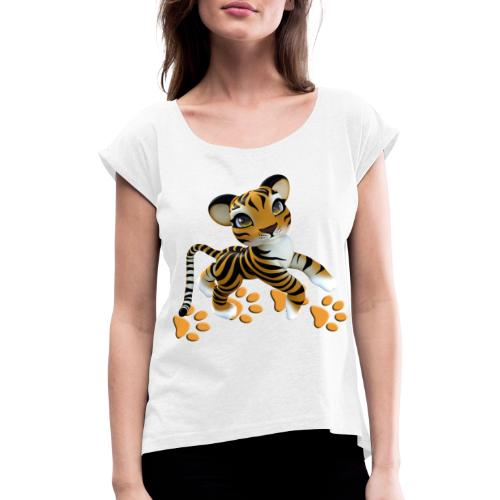 Kleiner Tiger - Frauen T-Shirt mit gerollten Ärmeln