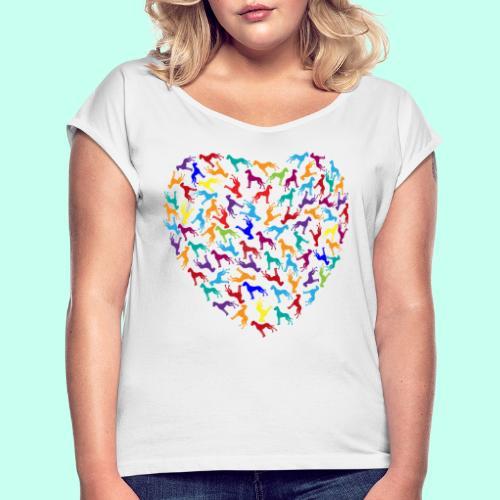 Doggen Herzensdame - Frauen T-Shirt mit gerollten Ärmeln
