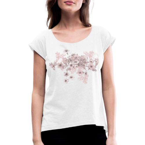 Pink bouquet - Dam - Women's T-Shirt with rolled up sleeves