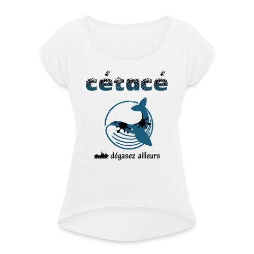 whale - T-shirt à manches retroussées Femme