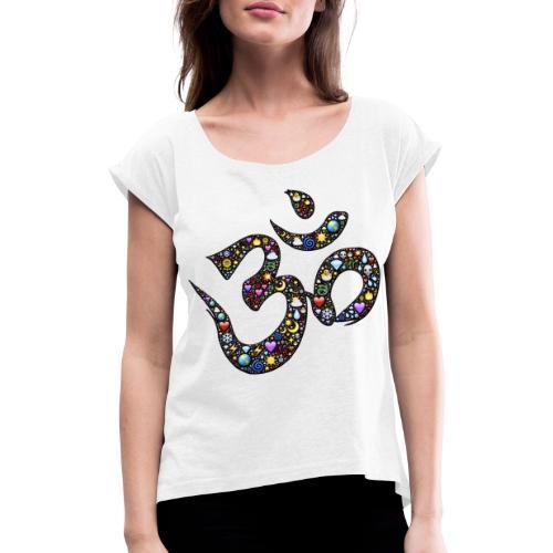 OM RAINBOW LOGO - Frauen T-Shirt mit gerollten Ärmeln
