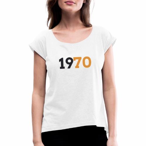 1970 - T-shirt med upprullade ärmar dam