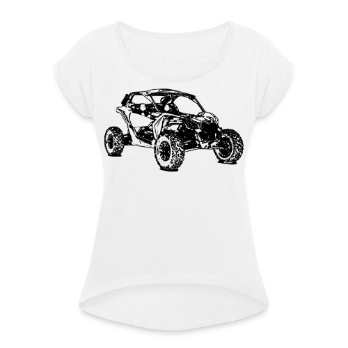 Side by Side car Offroad - Frauen T-Shirt mit gerollten Ärmeln