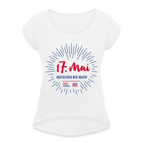 17. mai T-skjorte - Det norske plagg - T-skjorte med rulleermer for kvinner