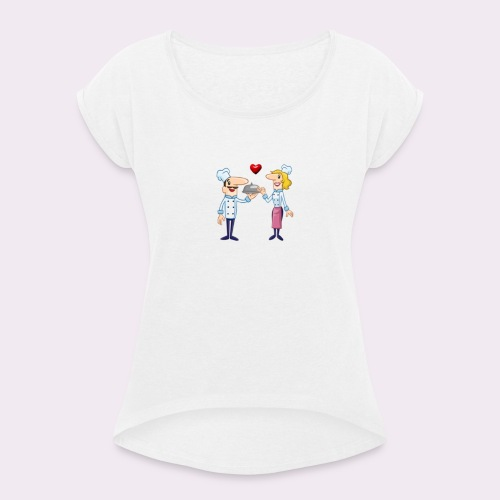 cheffs - Camiseta con manga enrollada mujer