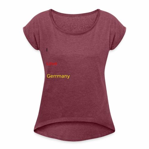 deutschland germany liebe love ich ego farbe - Frauen T-Shirt mit gerollten Ärmeln