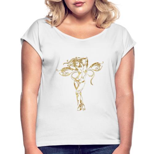 Love-Romance - T-shirt med upprullade ärmar dam