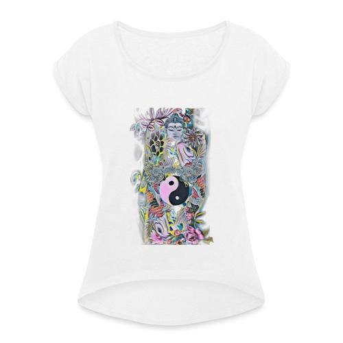 Koifish Ying Yang Kollection (Frau) - Frauen T-Shirt mit gerollten Ärmeln
