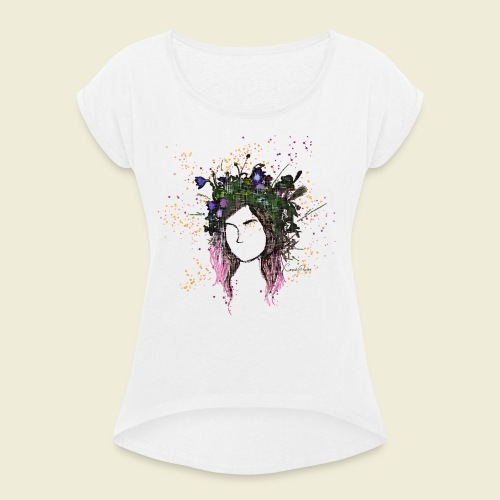 flower crown - Women's T-Shirt with rolled up sleeves