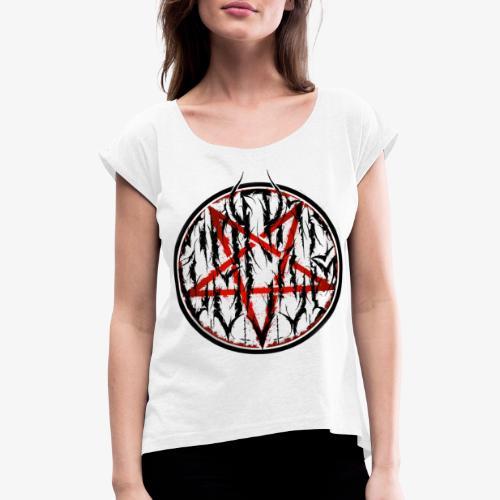 Logo 4 R B - Frauen T-Shirt mit gerollten Ärmeln