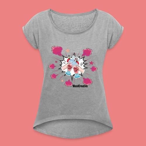 moodcreativoart - Maglietta da donna con risvolti