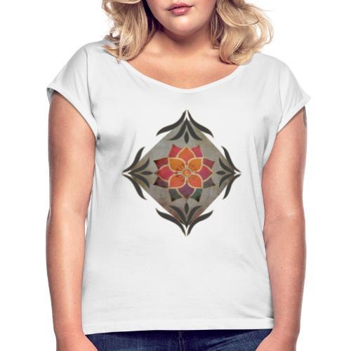 Silent Presence - Frauen T-Shirt mit gerollten Ärmeln