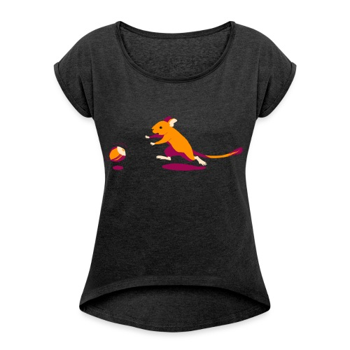 Fang die Nuss! - Frauen T-Shirt mit gerollten Ärmeln