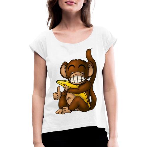 Super Fröhlicher Affe - Frauen T-Shirt mit gerollten Ärmeln