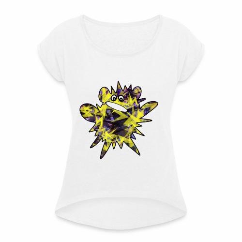 Monsterchen Blitz gelb - Frauen T-Shirt mit gerollten Ärmeln