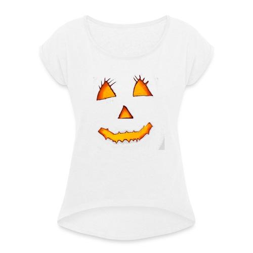 HALLOWEEN Gruselig lächelndes Kürbis Gesicht. - Frauen T-Shirt mit gerollten Ärmeln