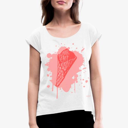 2reborn Pink Eat ICE CREAM Eis Ice Eiscreme red - Frauen T-Shirt mit gerollten Ärmeln