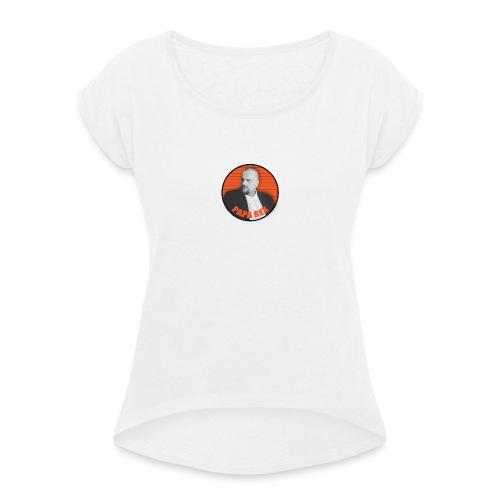 ORANGE paparexlogo - Naisten T-paita, jossa rullatut hihat