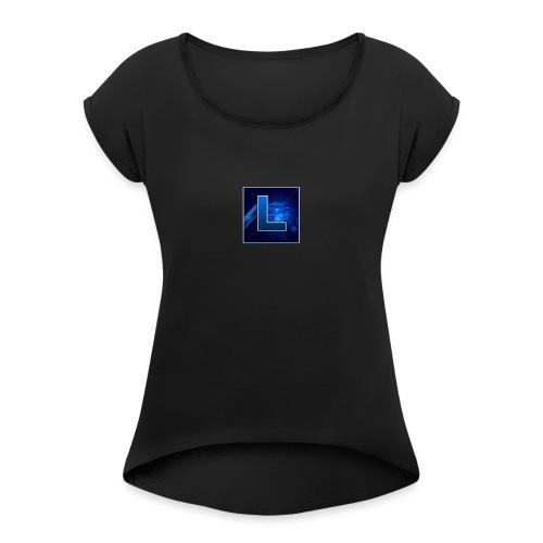 Logo GamenMetLucas - Vrouwen T-shirt met opgerolde mouwen