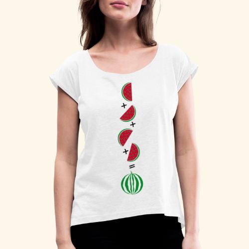 Un cuarto de sandía - Camiseta con manga enrollada mujer