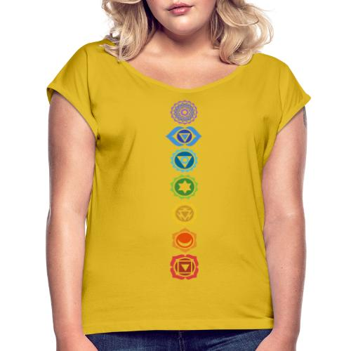 The 7 Chakras, Energy Centres Of The Body - Women's T-Shirt with rolled up sleeves