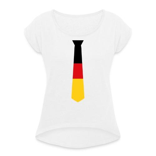 _Krawatte - Frauen T-Shirt mit gerollten Ärmeln