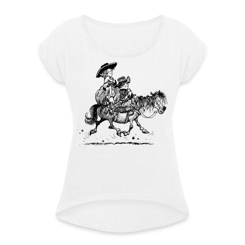 Thelwell Two Cowboys Reiten - Frauen T-Shirt mit gerollten Ärmeln