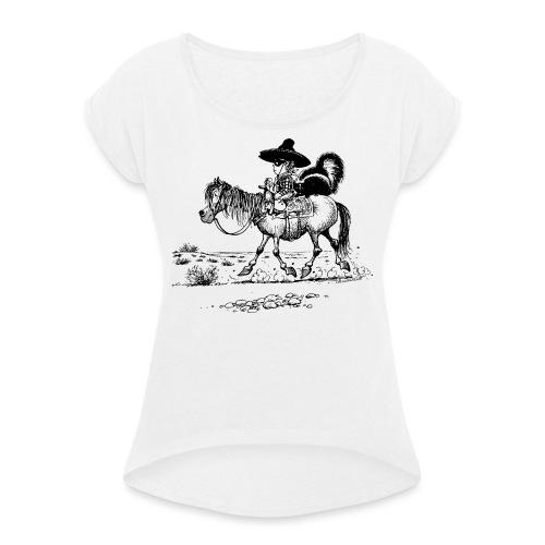 Thelwell Cowboy mit einem Stinktier - Frauen T-Shirt mit gerollten Ärmeln