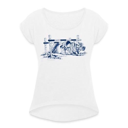Thelwell Pony versteckt sich unter dem Sprung - Frauen T-Shirt mit gerollten Ärmeln