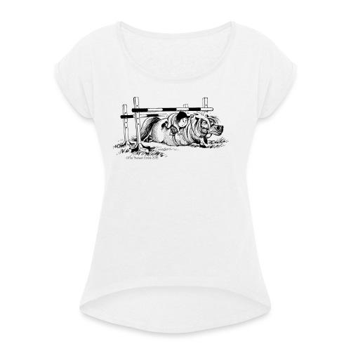 Thelwell Cartoon Pony Sturz - Frauen T-Shirt mit gerollten Ärmeln