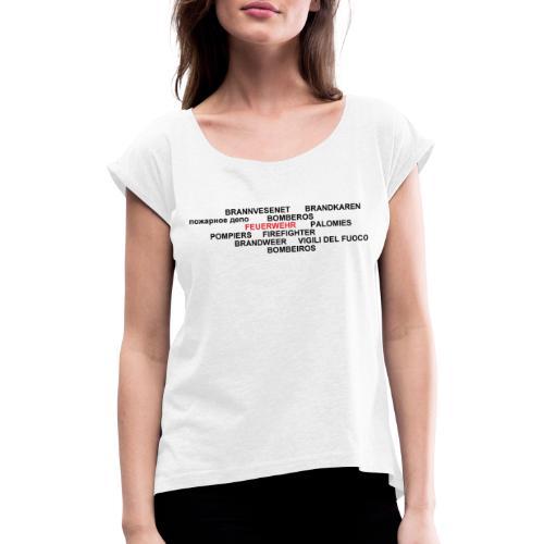 WordCloud Fremdsprachen - Frauen T-Shirt mit gerollten Ärmeln