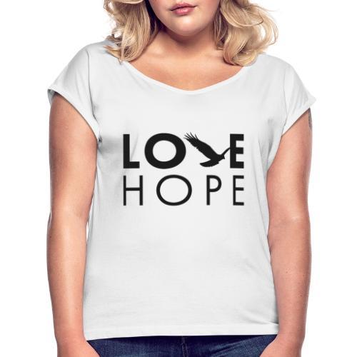 Logga - T-shirt med upprullade ärmar dam
