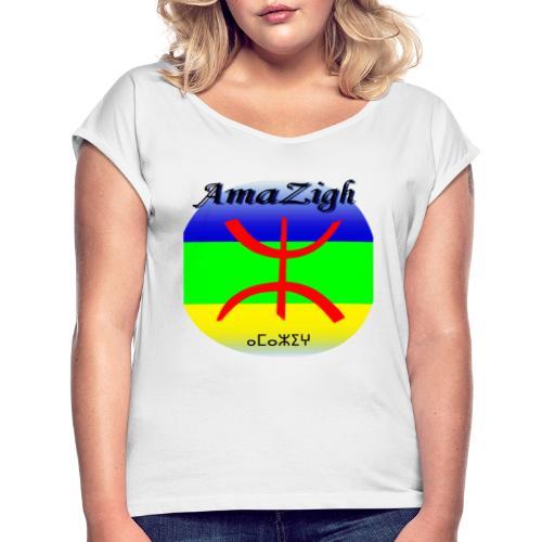 Drapeau Amazigh Signe Tifinagh Berbère - T-shirt à manches retroussées Femme