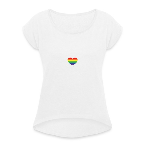 Rainbow heart - Women's T-Shirt with rolled up sleeves