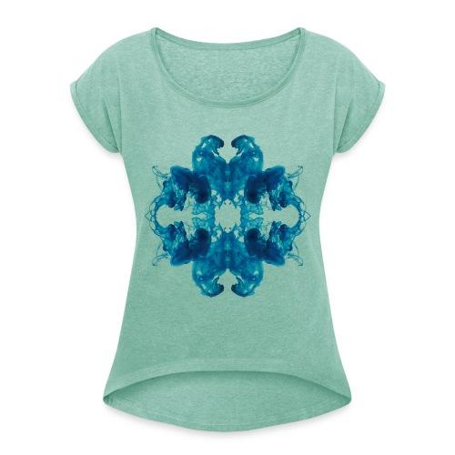 Tintenklecks unter Wasser - Frauen T-Shirt mit gerollten Ärmeln