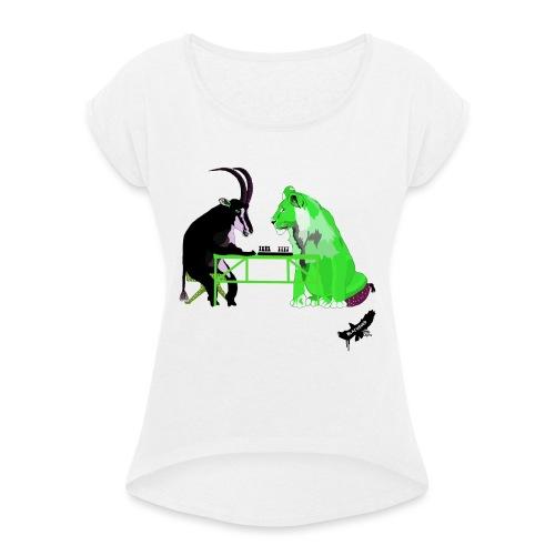 Playing Senet by BlackenedMoonArts, green w. logo - Dame T-shirt med rulleærmer