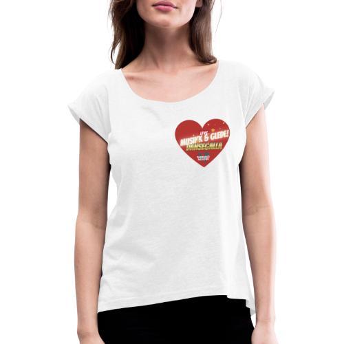 Musikk & Glede Hjertemotiv - T-skjorte med rulleermer for kvinner