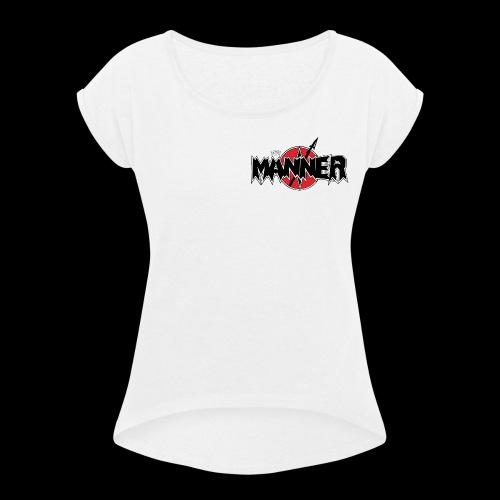 LogoKroneWeiss - Frauen T-Shirt mit gerollten Ärmeln