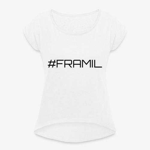 Musta framil - Naisten T-paita, jossa rullatut hihat