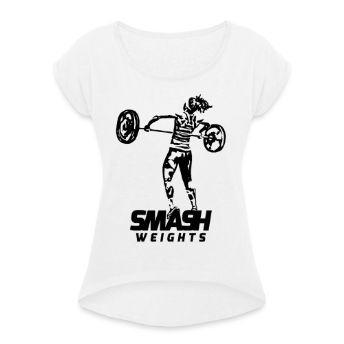 SmashWeightsWoman png - Women's T-Shirt with rolled up sleeves