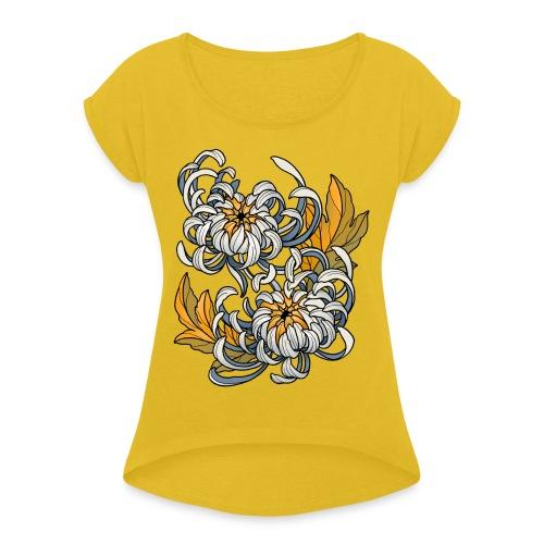 Chrysanthèmes enlacés - T-shirt à manches retroussées Femme