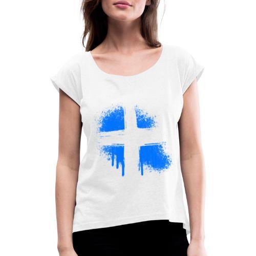 Graffiti Kreuz - Frauen T-Shirt mit gerollten Ärmeln