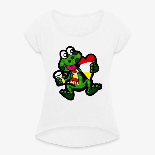 Oeteldonk Kikker - Vrouwen T-shirt met opgerolde mouwen